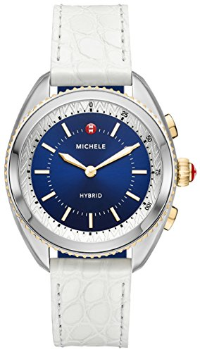 michele womens hybrid smartwatch two tone navy dial white alligator and - Michele Women's Hybrid Smartwatch- Two-Tone Navy Dial White Alligator and Navy Silicone Hybrid Smartwatch MWWT32A00008