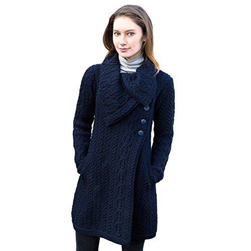 Ladies 100% Irish Merino Wool Chunky Collar Buttoned Aran Coat by West End Knitwear Medium Navy