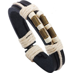 Rope Decorated Faux Leather Bracelet
