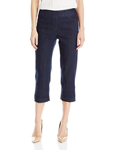 SLIM-SATION Women's Wide Band Pull On Straight Leg Capri with Tummy Control, Denim, 14