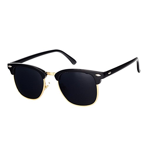 Pro Acme Classic Semi Rimless Polarized Clubmaster Sunglasses with Metal Rivets (Baby Black/Grey/Gold Rimmed, As Shown)
