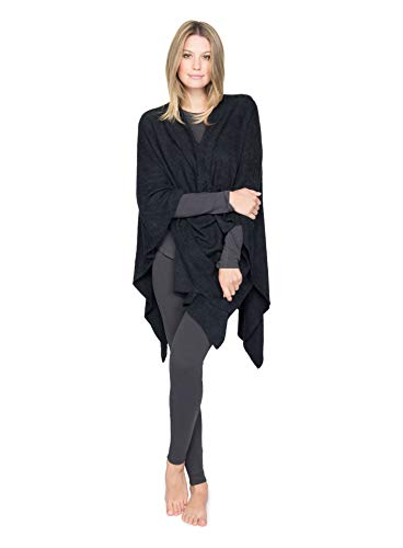 BarefootDreams Bamboo Chic Lite Weekend Wrap – Black,One Size