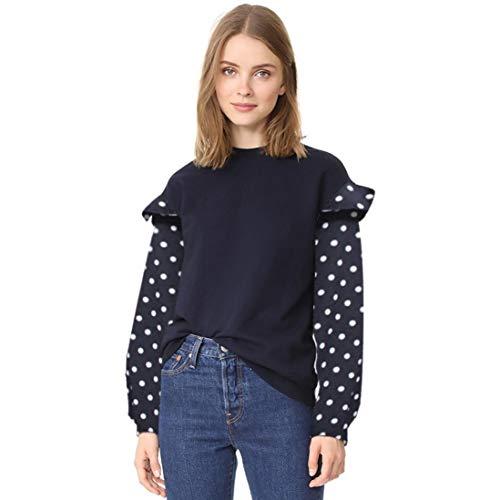 LisYOU Women's Dot Print Long Sleeve Crop Top Pullover Sweatshirt(L,Dark Blue)
