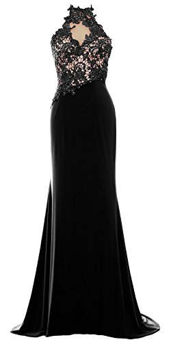 MACloth Women Mermaid Halter Lace Long Formal Evening Dress Wedding Party Gown (US4, Black)