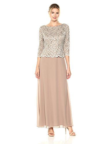 Alex Evenings Womens Long Mock Dress with Full Skirt (Petite and Regular Sizes), Champagne, 16