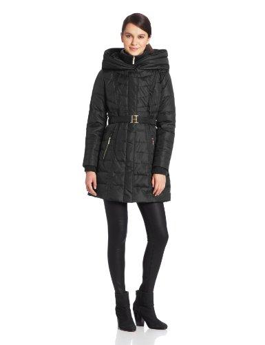 Kensie Women's Long Down Coat with Hood, Black, Small
