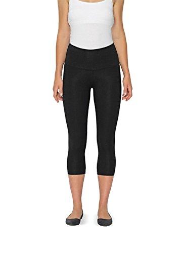 Lysse Leggings for Women-basic Cotton Capri Legging (Black,L)