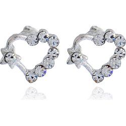 Rhinestoned Heart Stud Earrings