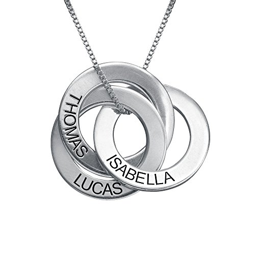 Personalized Russian Ring Necklace w/Name Engraving-Personalized & Custom Made for Mom