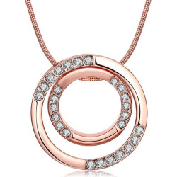 Rhinestone Polished Double Ring Necklace