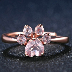 Kitty Paw Crystal Ring