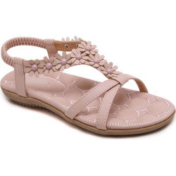 Women Summer Casual Leather Flowers Slip-on Flat Sandals