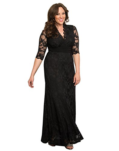 Kiyonna Women's Plus Size Screen Siren Lace Gown 3x Onyx