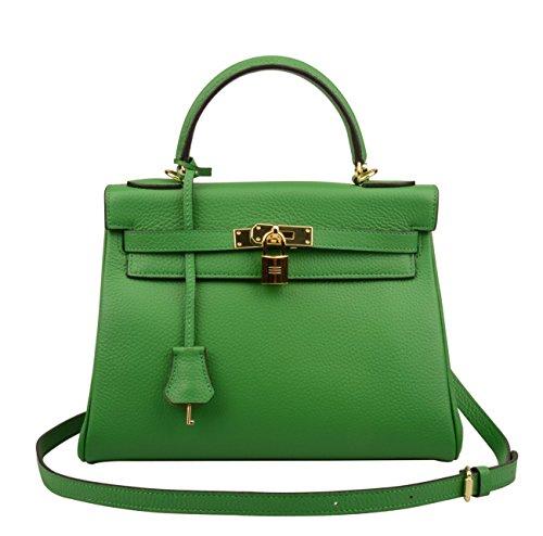 Ainifeel Women's Padlock 32CM 28CM 25 CM Shoulder Handbags Purses Hobo Bag (32cm, Bamboo green)