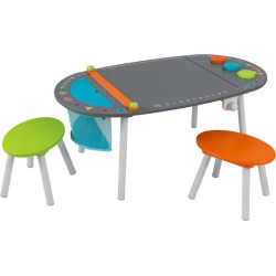 kidkraft chalkboard art table stool 3 piece set multicolor - KidKraft Chalkboard Art Table & Stool 3-piece Set, Multicolor
