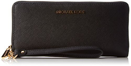 Michael Kors Women's Jet Set Travel Leather Continental Wallet Wristlet – Black
