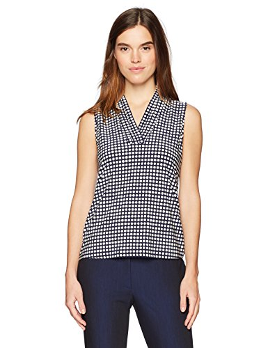 Anne Klein Women's Print Triple Pleat Top, Breton Blue/Parchment, L
