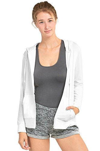 Sofra Women's Thin Cotton Zip Up Hoodie Jacket (XL, White)