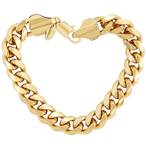 Lifetime Jewelry Cuban Link Bracelet 11MM, Round, 24K Gold Overlay Premium Fashion Jewelry, Guaranteed for Life, 10 Inches