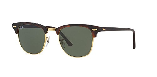 Ray-Ban RB3016 Classic Clubmaster Sunglasses Unisex (51 mm Tortoise Frame Solid Polarized Lens)