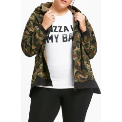Plus Size Camouflage Zip Up Hooded Jacket