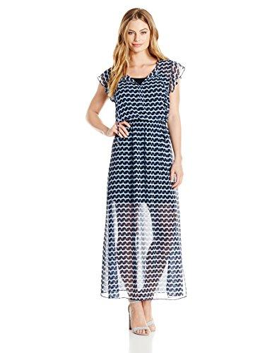 London Times Women's Short Sleeve Round Neck Chiffon Maxi Dress, Blue, 12