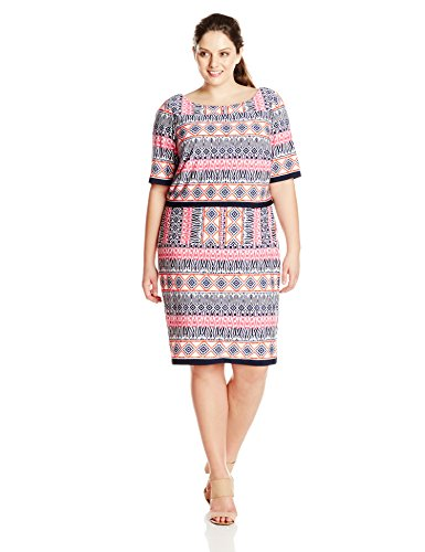 Eliza J Women's Plus Size Printed Popover Dress, Pink, 22W