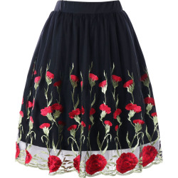 Plus Size Embroidery Skirt