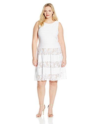 S.L. Fashions Women's Plus Size Lace Inset Party Dress, White, 16W