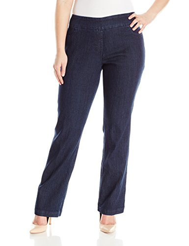 SLIM-SATION Women's Plus-Size Pull-On Straight-Leg Pant,Denim,20W