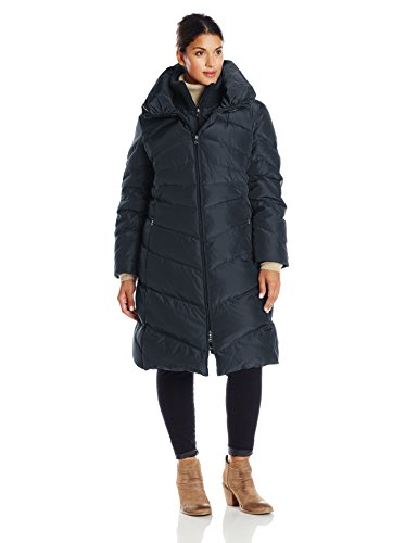 Jessica Simpson Women's Plus-Size Long Chevron Down Coat, Navy, 1X