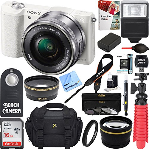 sony alpha a5100 hd 1080p mirrorless digital camera white 16 50mm lens kit - Sony Alpha a5100 HD 1080p Mirrorless Digital Camera White + 16-50mm Lens Kit + 32GB Accessory Bundle + DSLR Photo Bag + Extra Battery + Wide Angle Lens + 2x Telephoto Lens + Flash + Remote + Tripod