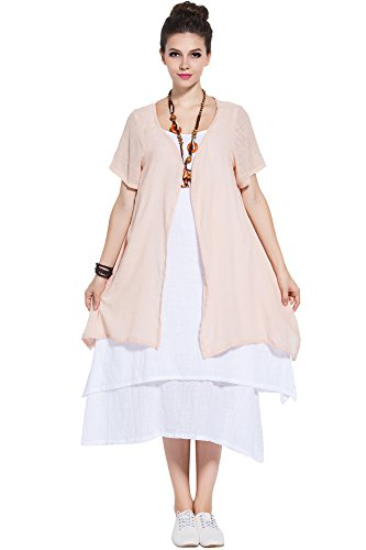Anysize Soft Linen&Cotton Two-Piece Dress Spring Summer Plus Size Dress Y96