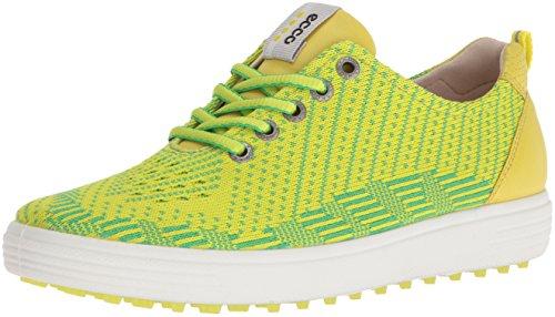 ECCO Women's Casual Hybrid Knit Golf Shoe, Lime Punch/Toucan Neon/Sulphur, 39 EU/8-8.5 M US