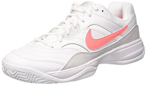 NIKE Women's Court Lite Tennis Shoe, White/Lava Glow-Vast Grey, 8