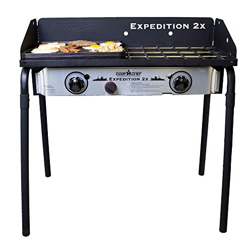 camp chef expedition 2 x 2 burner propane gas grill in silver - Camp Chef Expedition 2 X 2-Burner Propane Gas Grill in Silver