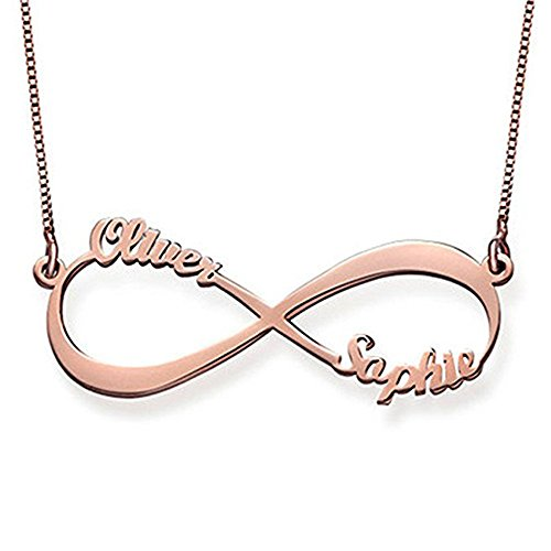 Froshine Personalized Couple Infinity Pendant Custom Necklace with Your Name – Made w/Any Name for Endless Love