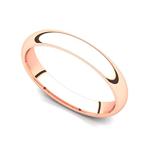 14k Rose Gold 3mm Classic Plain Comfort Fit Wedding Band Ring, 7.5