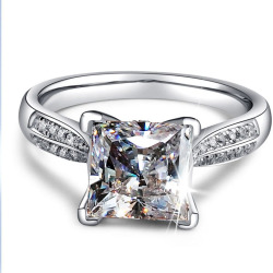 Women's Plated Setting Cubic Zirconia Inlaid Wedding Band Ring for Her Size 4-9