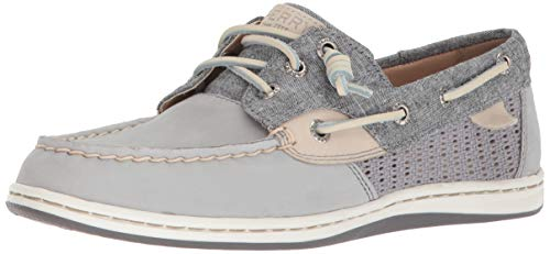Sperry Top-Sider Women's Songfish Chambray Boat Shoe, Grey, 8 Medium US
