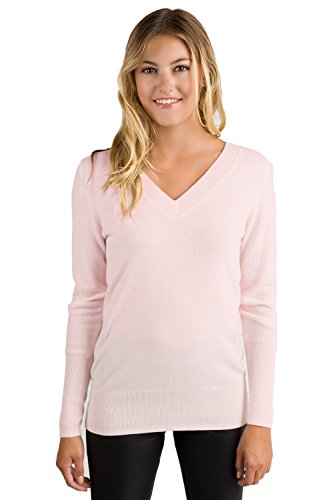 JENNIE LIU Women's 100% Pure Cashmere Long Sleeve Ava V Neck Pullover Sweater (PS, PetalPink)