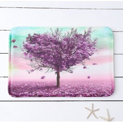 Heart Tree Print Water Absorbing Slow Rebound Bathroom Mat