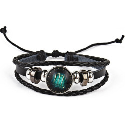 Vintage Twelve Constellations Braid Rope Bolo Bracelet