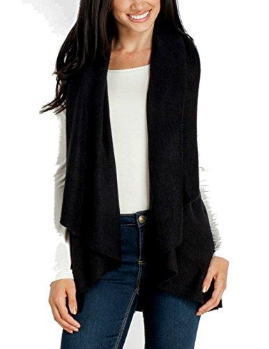 Look By M Women's Draped 4 in 1 Multi Ways Basic Shawl Vest … (Black)