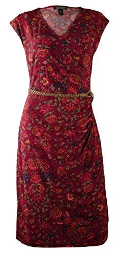 Ralph Lauren Women's Plus Size Cap-Sleeve Belted Floral-Print Dress-BMM-2X