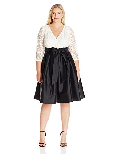 Adrianna Papell Women's Plus Size Guinevere Lace N Taffeta Flrd Dress, Black/Ivory, 14W