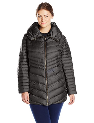 Marc New York by Andrew Marc Women's Plus-Size Kirby Chevron Down Coat, Black, 1X