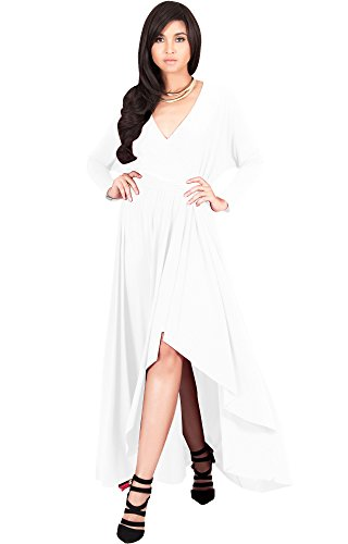 KOH KOH Womens Long Sleeve Sleeves Wrap Slit Split Formal Fall Winter Cocktail Sexy Flowy Evening Day Abaya Gown Gowns Maxi Dress Dresses, Ivory White L 12-14