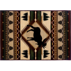 United Weavers Designer Contours Moose Wilderness Rug, Brown