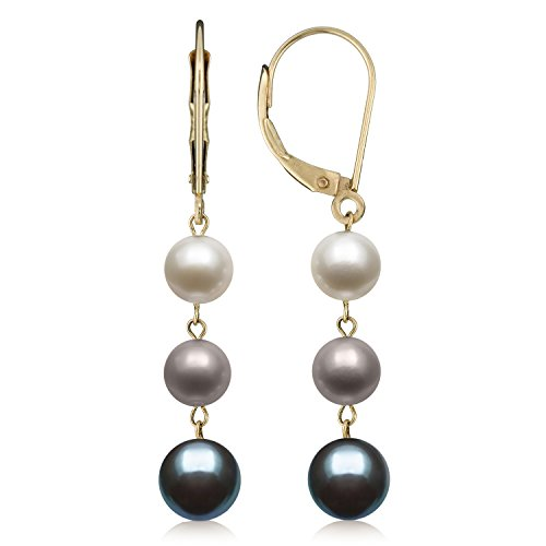 14k Yellow Gold Cultured Freshwater Pearl Trio Dangle Drop Earrings (Multi-Black)